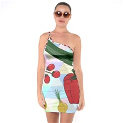 Vegetables Cucumber Tomato One Soulder Bodycon Dress