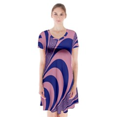 Fractals Vector Background Short Sleeve V Neck Flare Dress