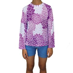 Floral Wallpaper Flowers Dahlia Kids  Long Sleeve Swimwear by Nexatart