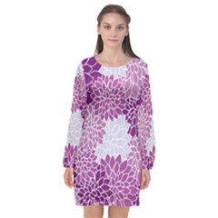 Floral Wallpaper Flowers Dahlia Long Sleeve Chiffon Shift Dress
