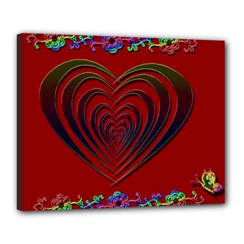 Red Heart Colorful Love Shape Canvas 20  X 16  by Nexatart