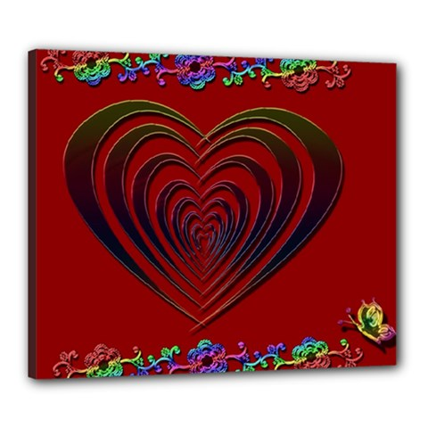 Red Heart Colorful Love Shape Canvas 24  X 20