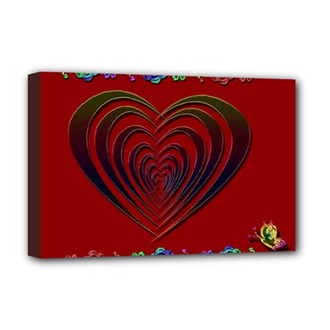 Red Heart Colorful Love Shape Deluxe Canvas 18  X 12
