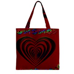 Red Heart Colorful Love Shape Zipper Grocery Tote Bag