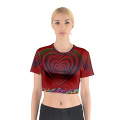 Red Heart Colorful Love Shape Cotton Crop Top