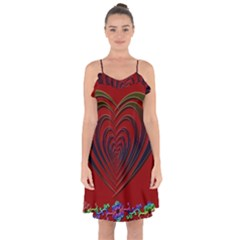 Red Heart Colorful Love Shape Ruffle Detail Chiffon Dress
