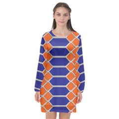 Pattern Design Modern Backdrop Long Sleeve Chiffon Shift Dress