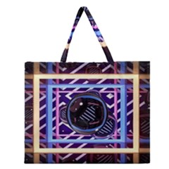 Abstract Sphere Room 3d Design Zipper Large Tote Bag by Nexatart