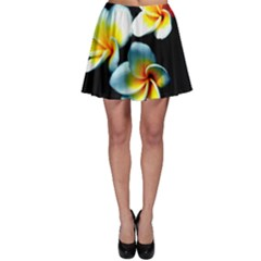 Flowers Black White Bunch Floral Skater Skirt
