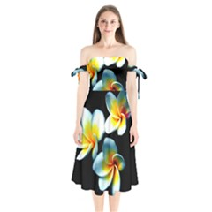 Flowers Black White Bunch Floral Shoulder Tie Bardot Midi Dress