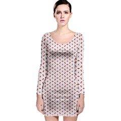 Motif Pattern Decor Backround Long Sleeve Bodycon Dress