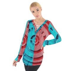 Vector Watch Texture Red Blue Women s Tie Up Tee