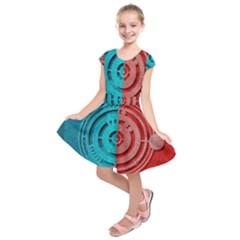 Vector Watch Texture Red Blue Kids  Short Sleeve Dress