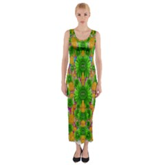 Jungle Love In Fantasy Landscape Of Freedom Peace Fitted Maxi Dress by pepitasart