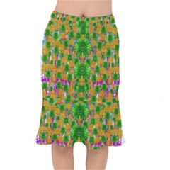 Jungle Love In Fantasy Landscape Of Freedom Peace Mermaid Skirt by pepitasart