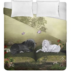 Wonderful Whte Unicorn With Black Horse Duvet Cover Double Side (king Size) by FantasyWorld7