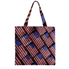 Usa Flag Grunge Pattern Zipper Grocery Tote Bag by dflcprints