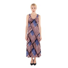 Usa Flag Grunge Pattern Sleeveless Maxi Dress by dflcprintsclothing