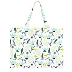 Hand Drawm Seamless Floral Pattern Zipper Large Tote Bag by TastefulDesigns