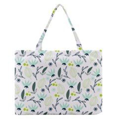 Hand Drawm Seamless Floral Pattern Medium Zipper Tote Bag by TastefulDesigns