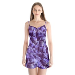 Purple Paint Strokes Satin Pajamas Set