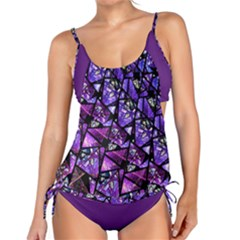 Blue purple Shattered Glass Tankini