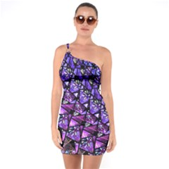 Blue Purple Shattered Glass One Soulder Bodycon Dress