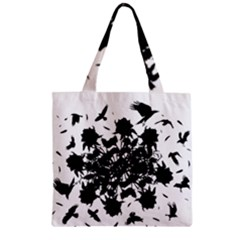 Black Roses And Ravens  Zipper Grocery Tote Bag by Valentinaart