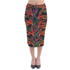 Bird Of Paradise Velvet Midi Pencil Skirt by Valentinaart