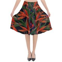 Bird Of Paradise Flared Midi Skirt by Valentinaart