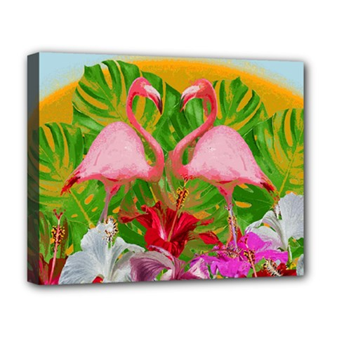 Flamingo Deluxe Canvas 20  X 16   by Valentinaart
