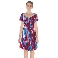 Blue Red White Marble Pattern Short Sleeve Bardot Dress