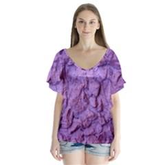 Purple Wall Background Flutter Sleeve Top by Costasonlineshop