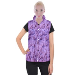 Purple Wall Background Women s Button Up Puffer Vest