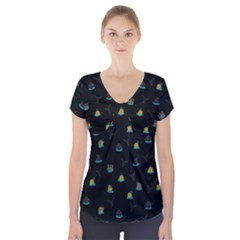 Cactus Pattern Short Sleeve Front Detail Top by ValentinaDesign