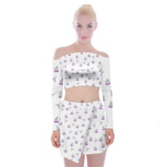 Cactus Pattern Off Shoulder Top With Skirt Set by ValentinaDesign