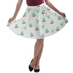 Cactus Pattern A Line Skater Skirt by ValentinaDesign