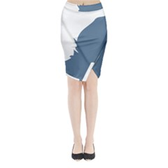 Blue White Hill Midi Wrap Pencil Skirt by Mariart