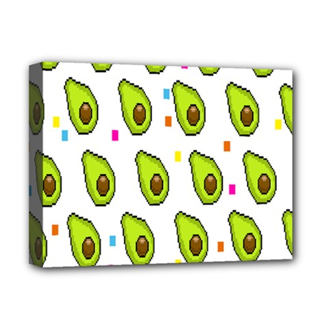 Avocado Seeds Green Fruit Plaid Deluxe Canvas 16  X 12   by Mariart