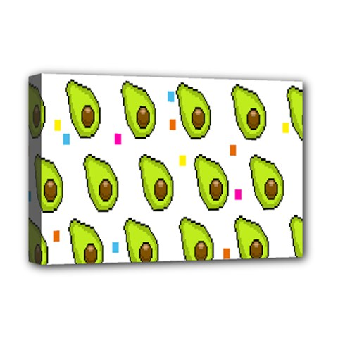 Avocado Seeds Green Fruit Plaid Deluxe Canvas 18  X 12   by Mariart