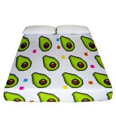 Avocado Seeds Green Fruit Plaid Fitted Sheet (california King Size) by Mariart