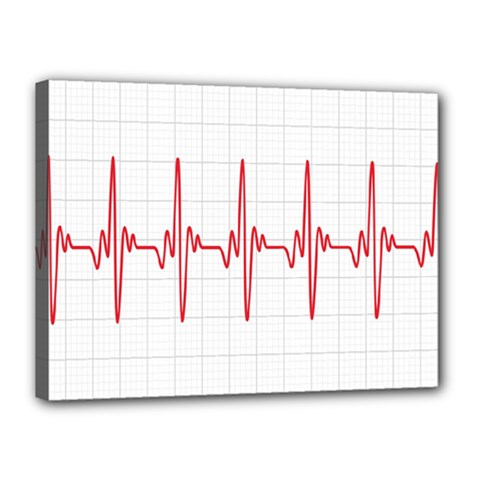 Cardiogram Vary Heart Rate Perform Line Red Plaid Wave Waves Chevron Canvas 16  X 12  by Mariart
