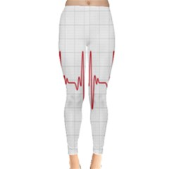 Cardiogram Vary Heart Rate Perform Line Red Plaid Wave Waves Chevron Leggings  by Mariart