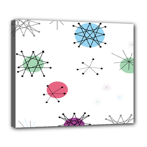 Atomic Starbursts Circle Line Polka Deluxe Canvas 24  X 20   by Mariart