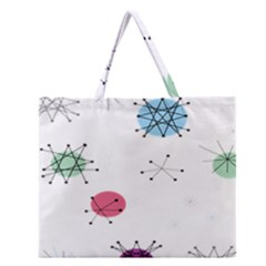 Atomic Starbursts Circle Line Polka Zipper Large Tote Bag by Mariart