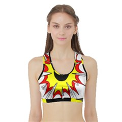 Book Explosion Boom Dinamite Sports Bra With Border by Mariart