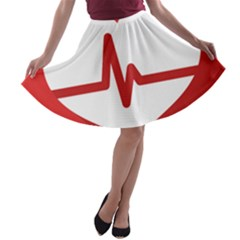Cardiologist Hypertension Rheumatology Specialists Heart Rate Red Love A Line Skater Skirt by Mariart