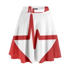 Cardiologist Hypertension Rheumatology Specialists Heart Rate Red Love High Waist Skirt by Mariart