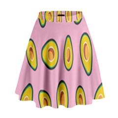 Fruit Avocado Green Pink Yellow High Waist Skirt by Mariart