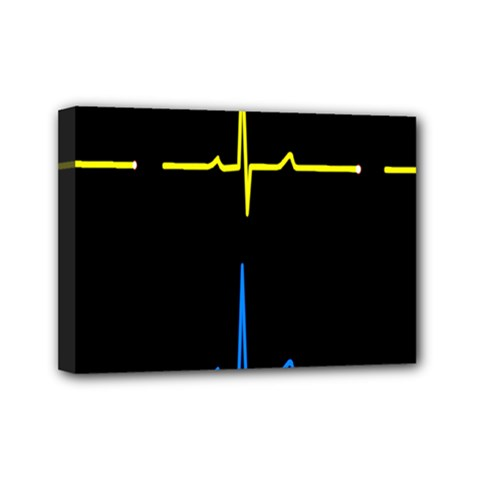 Heart Monitor Screens Pulse Trace Motion Black Blue Yellow Waves Mini Canvas 7  X 5  by Mariart